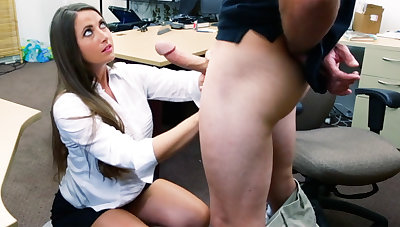 Shoplifter brunette gets fucked in the back of a pawn shop