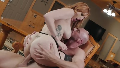 Flaming nude milf gets the cock to ruin her hairy cunt