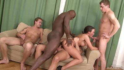 Group interracial sex with the naked wife