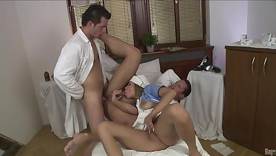 Clothed blonde beauty, threesome abiding sex with two men
