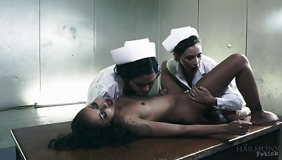 Naked ebony tries oral sex with two dominant nurses
