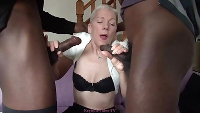 Two handsome, black guys are fucking a horny British granny, in the middle of the day