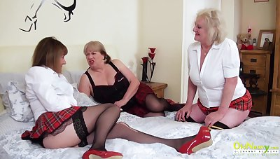 OldNannY Three Lesbian British Full-grown Porn Actresses