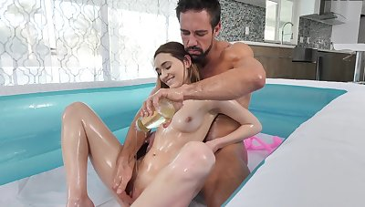 Girl suits man with full handjob upon POV ahead of a good fuck