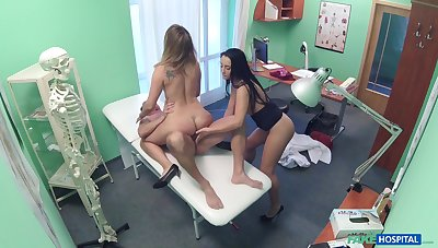 Lucky doctor enjoys having a 3-way with nurse Vanessa and patient Ani