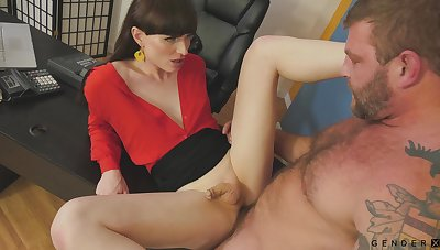 Highly emotional and rather sexy long-legged shemale Natalie Mars is anal pounded