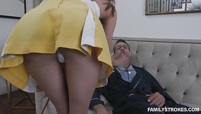 Stepdaughter helps her stepdad get better with the addition of her pussy has magical powers