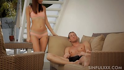 Sinful and sexy GF Katie Jordin gives BJ and fucks doggy darn fine