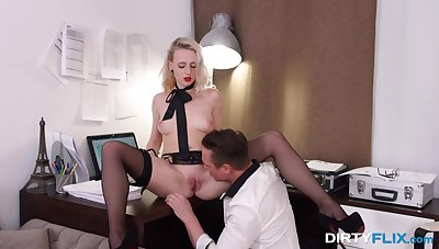 Blonde with lit up red lips Hanna Rey gets laid after a steamy blowjob session