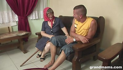 Sex-hungry senile woman seduces young student