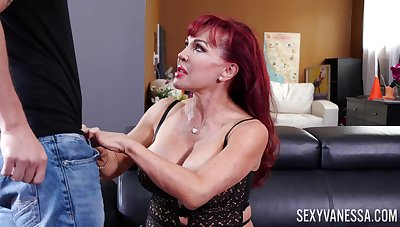 Giant breasted mature Latina redhead Sexy Vanessa gives awesome blowjob