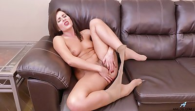 Amateur solo model Helena Price takes off her nylon pantyhose