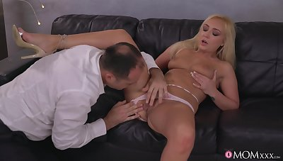 Sweet blonde keeps legs unestablished for more cock