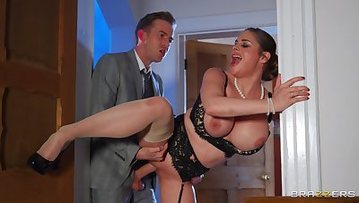 Woman with strapping tits, rough sex with a much younger man